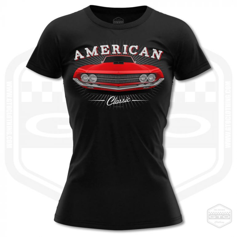 1970 ford falcon 429 classic womens t shirt black with red front print product