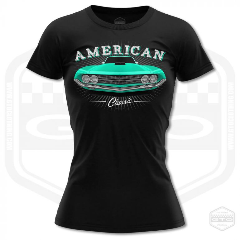 1970 ford falcon 429 classic womens t shirt black with turquoise front print product