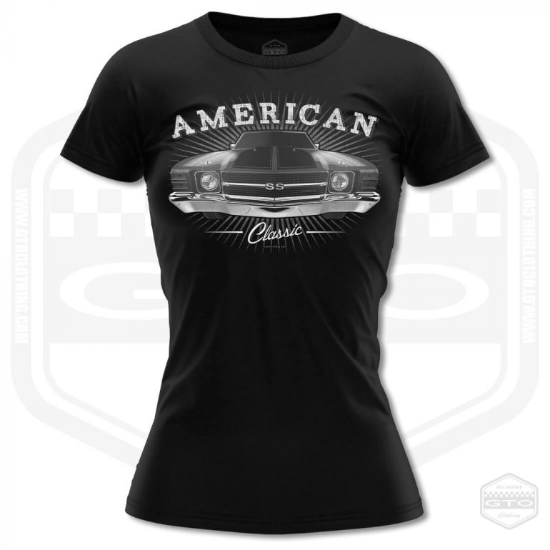 1971 chevrolet chevelle classic womens t shirt black with black front print product