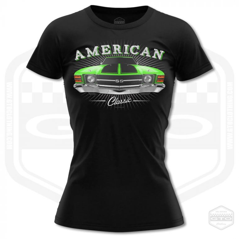 1971 chevrolet chevelle classic womens t shirt black with green front print product
