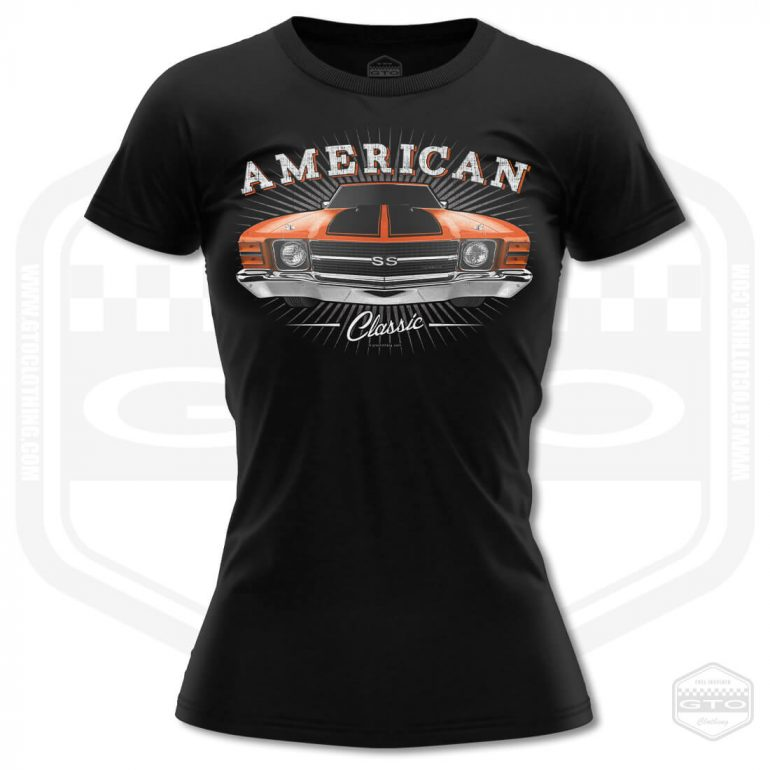 1971 chevrolet chevelle classic womens t shirt black with orange front print product