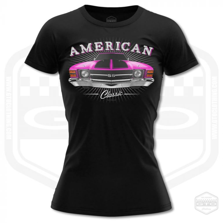 1971 chevrolet chevelle classic womens t shirt black with pink front print product
