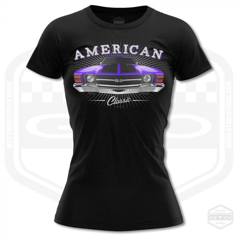 1971 chevrolet chevelle classic womens t shirt black with purple front print product