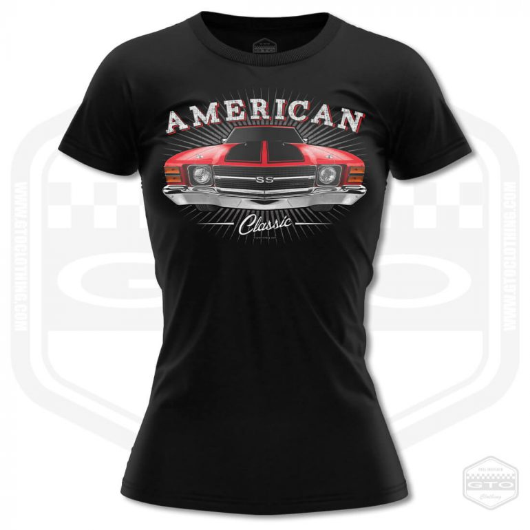 1971 chevrolet chevelle classic womens t shirt black with red front print product