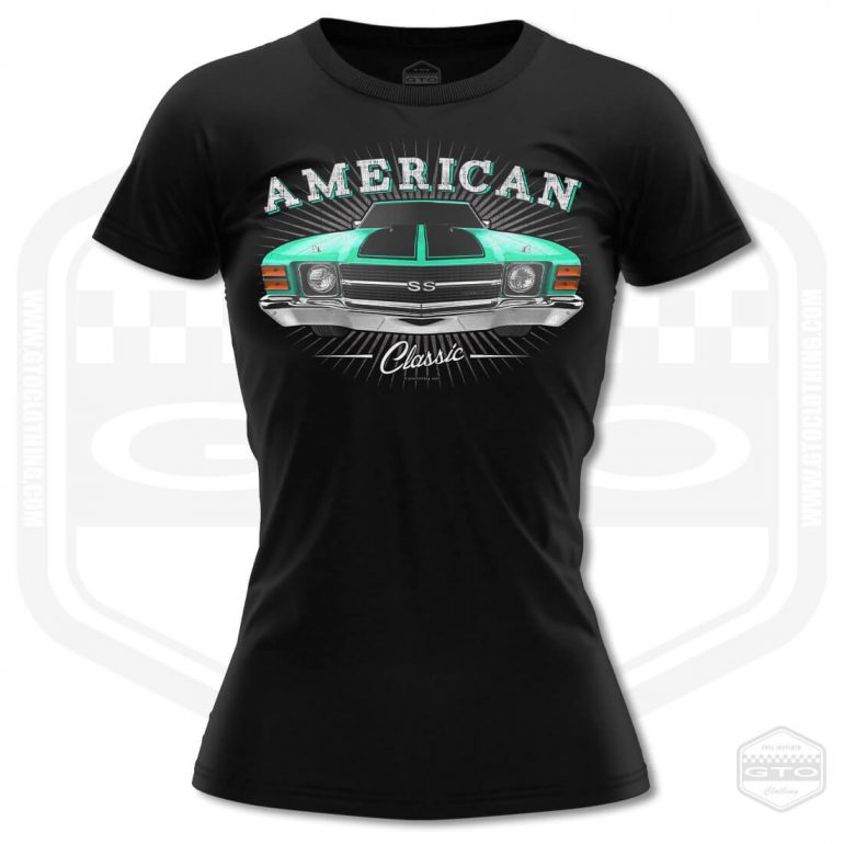 1971 chevrolet chevelle classic womens t shirt black with turquoise front print product