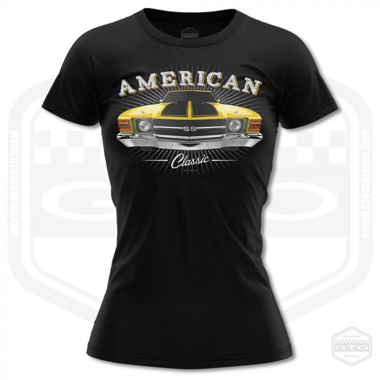 1971 chevrolet chevelle classic womens t shirt black with yellow front print product