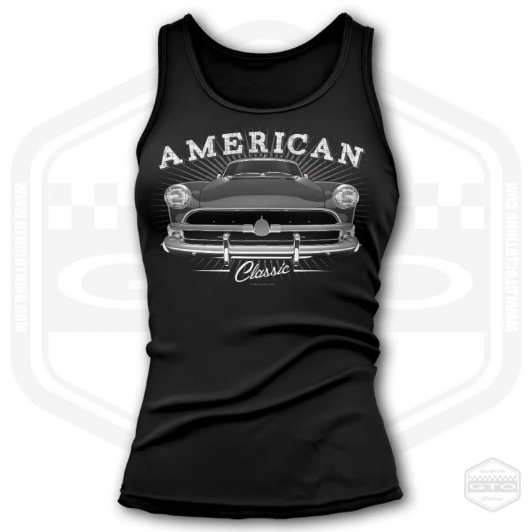 1954 hudson hornet classic womens tank top black with black front print product