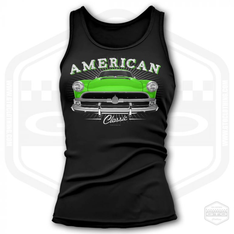 1954 hudson hornet classic womens tank top black with green front print product