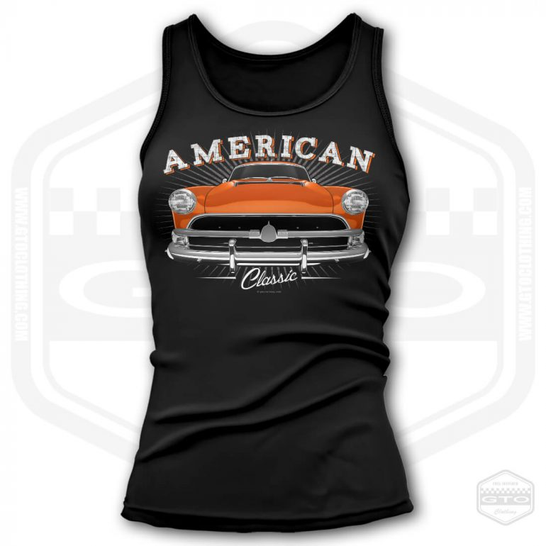 1954 hudson hornet classic womens tank top black with orange front print product