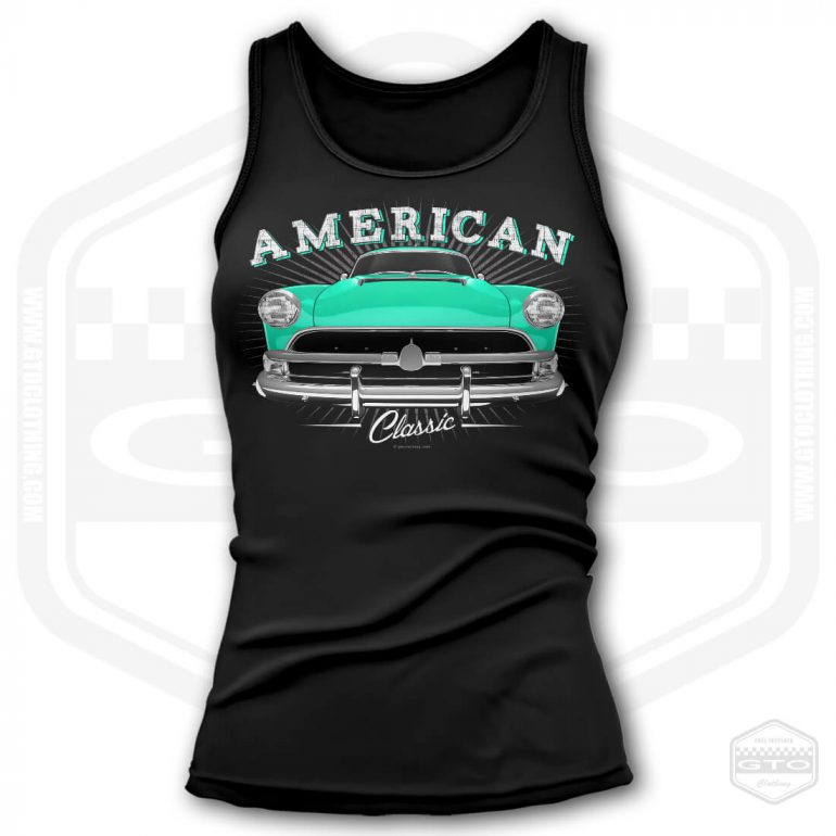 1954 hudson hornet classic womens tank top black with turquoise front print product