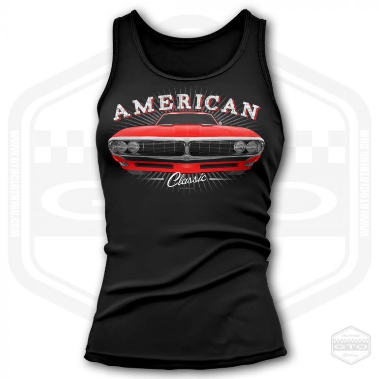 1968 pontiac firebird classic womens tank top black with red front print product